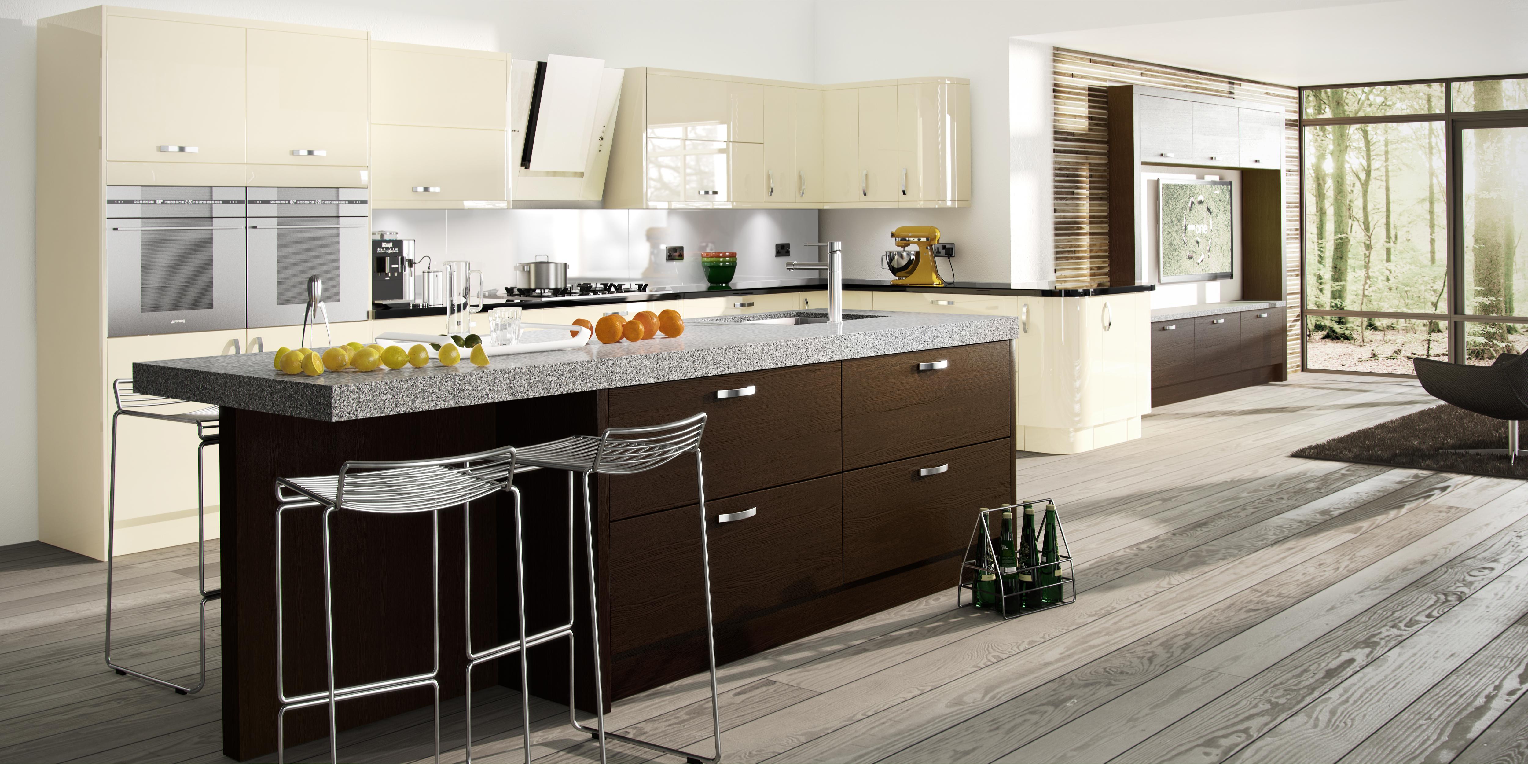 new kitchen designs. Astro Vanilla With Tavola Oak Black Brown Ferrara New Kitchen Designs S