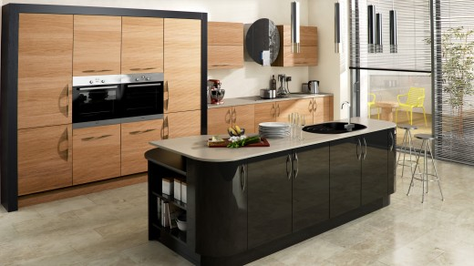 Ultra High Gloss Black with Tavola Oak Stained Light Oak and Hacienda Black Main