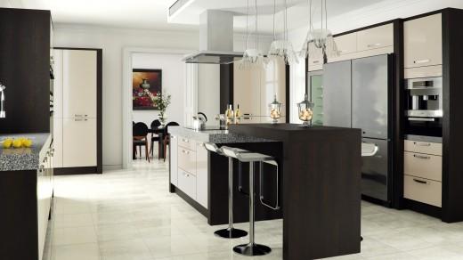 Ultra High Gloss with Tavola Oak Stained Black Brown Ferrara Main